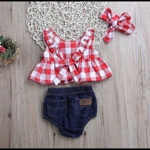 🌟LAST ONE! 3 Piece Plaid Outfit,  any, Jean, red